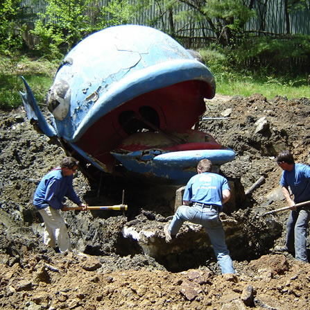 There is  7,000 pounds of concrete in Willie's tongue and base.  Digging it out was a massive job!